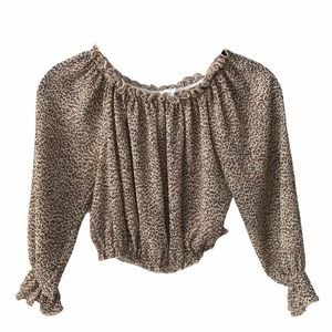 Princess Polly Off The Shoulder Animal Print Top 0